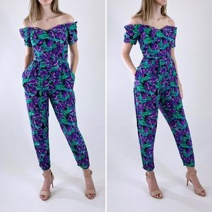 80s Vintage Purple Floral Off Shoulder Jumpsuit